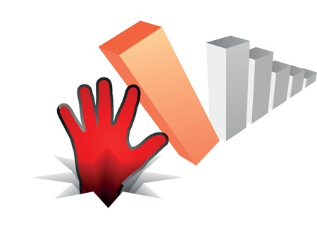 human hand fall off the chart Vector