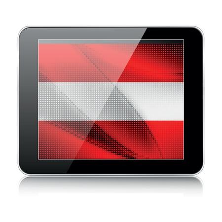 austrian flag: tablet icon with austrian flag Illustration