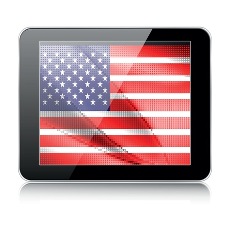 tablet icon with american flag Vector