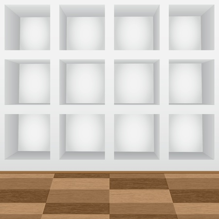 Empty shelves in the wall Vector