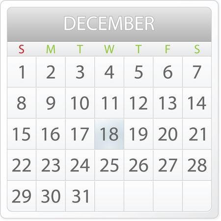 aplication: calendar design - December 2013 Illustration