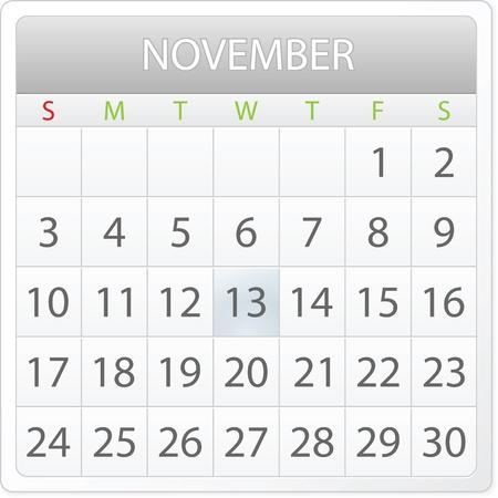 aplication: calendar design - November 2013 Illustration