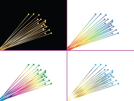 fiber optic cable: Four pages with optic fibers illustration editable