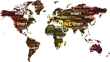 world map made of money text Vector
