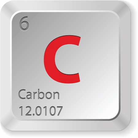 the periodic table: Carbon - keyboard button Illustration