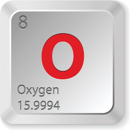 the periodic table: oxygen - keyboard button