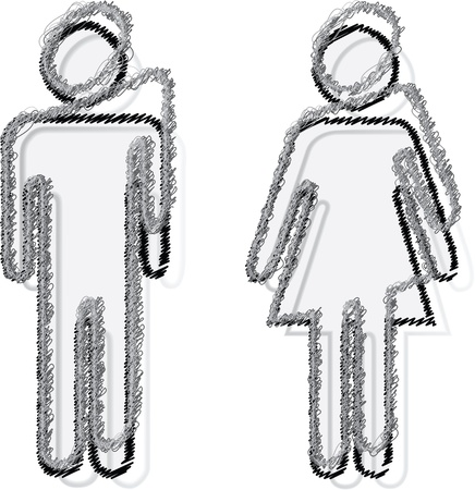 people sticker man and woman Vector