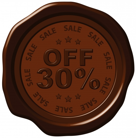 thirty: thirty percent discount on wax seal