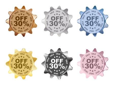 thirty percent discount labels Ilustração