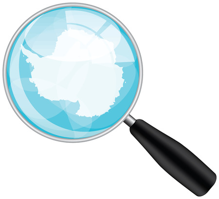 antartica: Magnifying glass with antartica flag