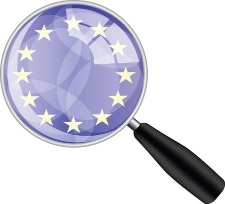 Magnifying glass with eu flag Ilustração