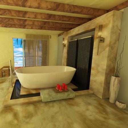 3D Rendering of a modern minimalist Bathroom photo