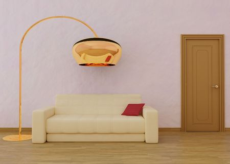 3dmax: 3D Rendering of a sofa with cushion and lamp
