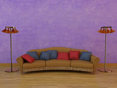 3dmax: 3D Rendering of a sofa with cushions and two lamps Stock Photo