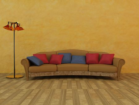 3dmax: 3D Rendering of a sofa with cushions and lamp Stock Photo