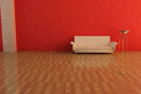 3dmax: 3D Rendering of a sofa with red background