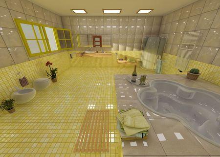 3D Rendering of a modern Bathroom photo
