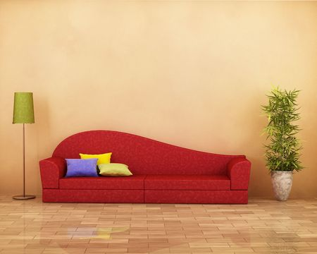 Red sofa with parquet , lamp, plant and cushions photo