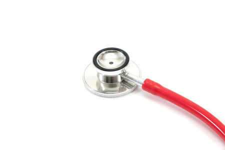Red medical stethoscope isolated over the white background