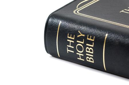 Holy Bible on white background Stock Photo