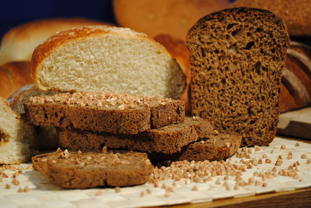 life loaf: The composition of the bread and buckwheat Stock Photo