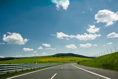 autobahn: Autobahn with clouds.