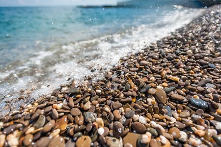 Waves splashed on the pebble beach