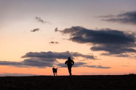 Dog and its owner canicross at dawn Zdjęcie Seryjne