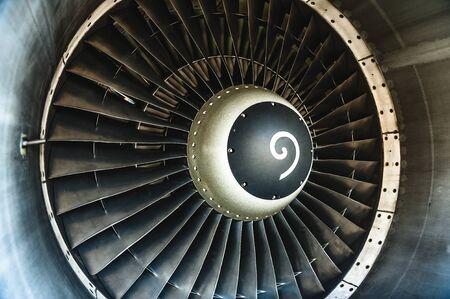 Close up view of Jet engine turbine Zdjęcie Seryjne