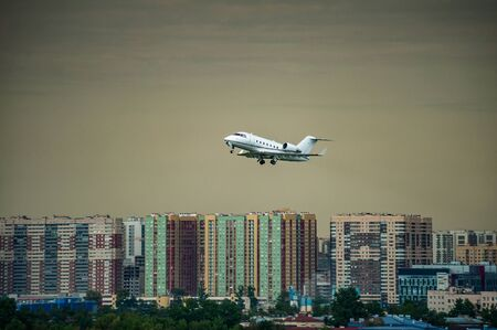 biusness jet taking off