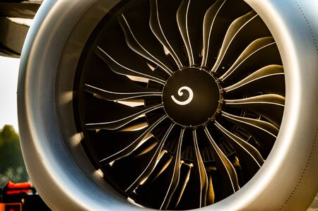 Close up view of Jet engine turbine