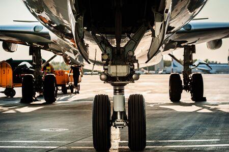 Close up view of landing gear Banco de Imagens