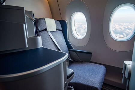 Airplane cabin business class interior Zdjęcie Seryjne