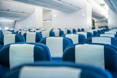Row of seats economic class airplane