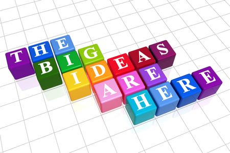 our vision: 3d colour boxes with white letters with text - the big ideas are here Stock Photo