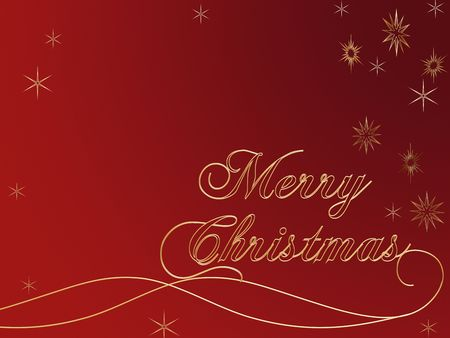 3d golden text with words Merry Christmas and golden snowflakes over red background Stock Photo - 2065375
