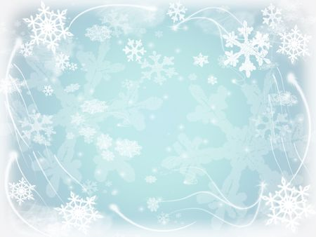 white snowflakes over light blue background with feather corners