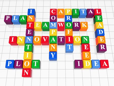 intention: 3d color boxes crossword - capital, teamwork, innovation, plan, plot, idea, intention, company, profit, need, leader Stock Photo