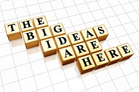 our: 3d golden boxes with black letters with text - the big ideas are here Stock Photo