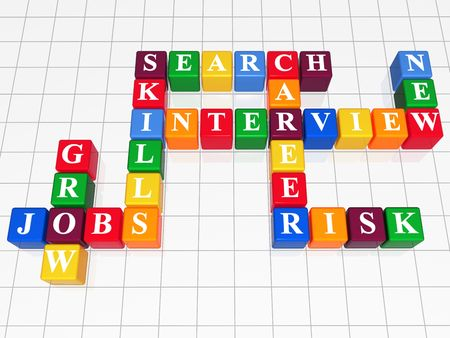 salaries: 3d color boxes like crossword - jobs; interview; search; career; skills; grow; risk; new