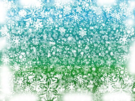 wintriness: white snowflakes over green and blue background with feather corners