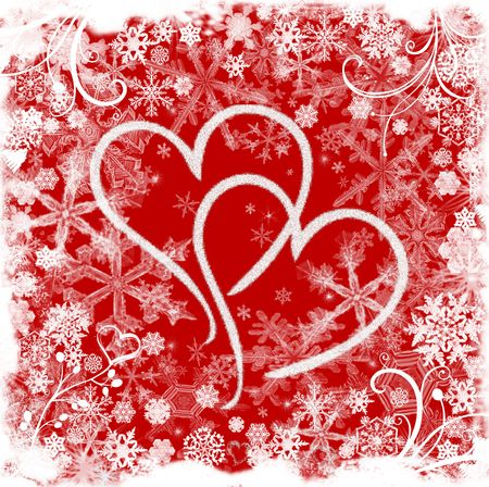 wintriness: Red white illustrated valentine background with hearts, snowflakes and flowers