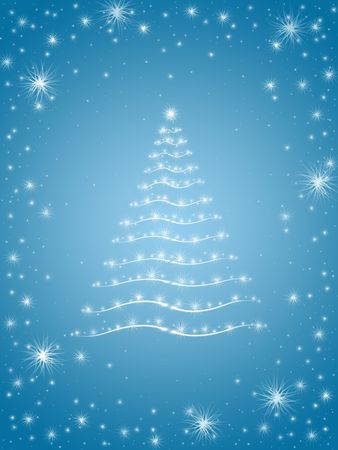 wintriness: christmas tree drawn by white lights over blue background