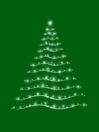 wintriness: christmas tree drawn by white lights over green background