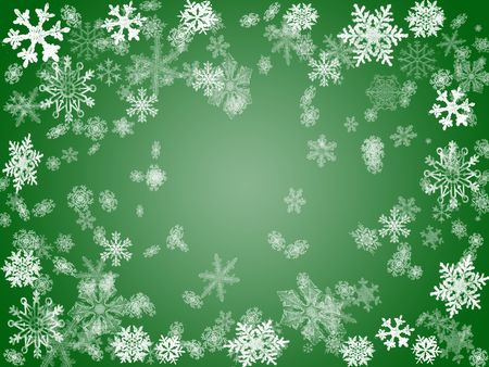 wintriness: white snowflakes over green background with feather center Stock Photo