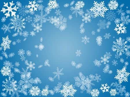 wintriness: white snowflakes over blue background with feather center
