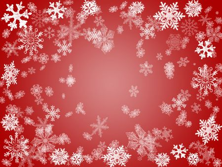 wintriness: white snowflakes over red background with feather center