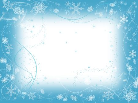 wintriness: white snowflakes over light blue background with feather center
