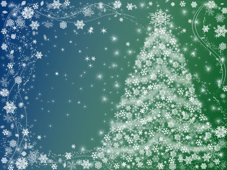 wintriness: christmas tree drawn by white snowflakes over blue and green background  Stock Photo