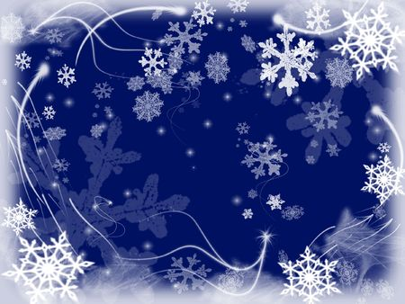 wintriness: white snowflakes over dark blue background with feather corners